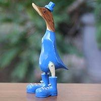 Wood sculpture, 'Uncle Duck in Blue Hat' (13 inch) - Whimsical Acacia and Bamboo Duck Sculpture in Blue (13 Inch)