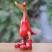 Wood sculpture, 'Uncle Duck in Red Hat' (13 inch) - Red Duck Sculpture Hand Carved from Java Artisan (13 Inch)