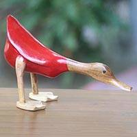 Wood sculpture, 'Diving Duck in Red' - Distressed Wood and Bamboo Duck Sculpture in Red Outfit