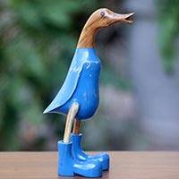 Wood sculpture, 'Blue Duck Squawks' (10 inch) - Whimsical Wood Duck Statuette with Blue Finish (10 Inch)