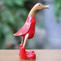 Wood sculpture, 'Red Duck Squawks' (10 inch) - Artisan Hand Carved 10 Inch Wood Duck Sculpture in Red