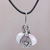 Rose quartz, opal and sterling silver charm necklace, 'Heartfelt Love' (Indonesia)
