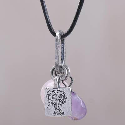 Rose quartz, amethyst and sterling silver charm necklace, 'Banyan Tree' - Hand Crafted Sterling Silver and Gemstone Charm Necklace
