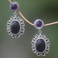 Amethyst and onyx earrings,