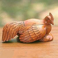 Wood decorative box, 'Broody Hen' - Hand Carved Decorative Wooden Hen 8-Inch Trinket Box