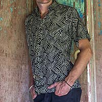 Men's cotton batik shirt, 'Bedeg'
