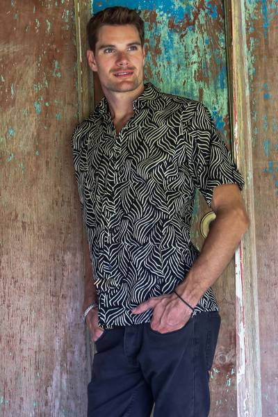 Men's cotton batik shirt, 'Bedeg' - Men's Cotton Batik Button Down Short Sleeve Shirt