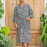 Men's cotton batik robe, 'Bedeg' - Men's Cotton Batik Robe Cream on Black One Size Fits Most