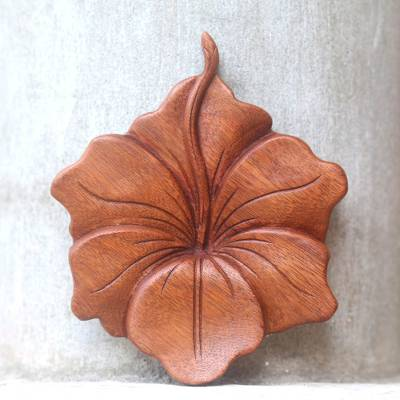 Wood relief panel, 'Single Hibiscus' - Balinese Hand Carved Hibiscus Flower Wood Relief Panel