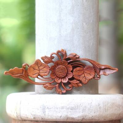 Wood relief panel, 'Singular Lotus' - Lotus Blossom Hand Carved Wood Relief Panel from Bali