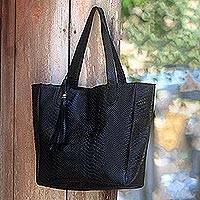 Leather shoulder bag, 'Black Mamba' - Black Leather Tote Style Shoulder Bag with Snakeskin Texture