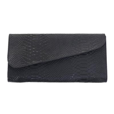 Snakeskin Textured Black Leather Clutch Handbag