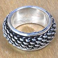 Sterling silver spinner ring, 'Basket Weave' - Wide Convex Weave Sterling Silver Spinner Ring from Bali