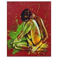 'Absorbing the Sadness' - Artistic Nude Original Painting in Red and Green