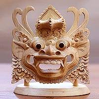 Wood mask and stand, 'Barong: King of the Spirits' - Hand Carved Crocodile Wood Mask of Barong with Stand