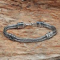 Sterling silver braided bracelet, Dragon Station