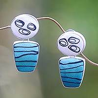 Polymer drop earrings, 'Teal Waves' - Artisan Crafted Polymer and Sterling Silver Drop Earrings