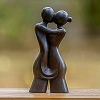 Wood sculpture, 'My Soulmate' - Love Theme Romantic Wood Sculpture from Bali