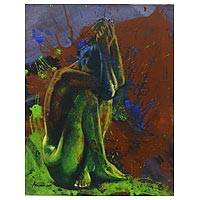 'Weakness is a Power' - Expressionistic Painting of Artistic Nude from Bali
