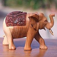 Wood statuette, 'Elephant on Parade' - Hand Carved Wood Statuette of Elegant Elephant on Parade