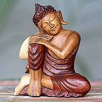 Wood sculpture, 'Buddha Asleep' - Balinese Peaceful Buddha Sculpture Carved by Hand