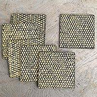 Wood coasters, 'Bamboo Weave in Black' (set of 6) - Artisan Crafted Wood and Bamboo Fiber Coasters (Set of 6)