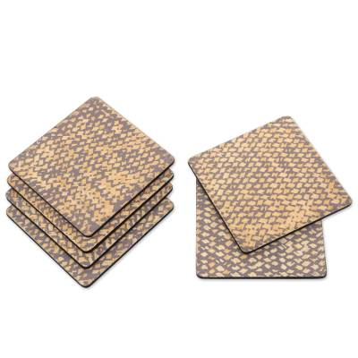 Hand Crafted Bamboo Fiber and Plywood Coasters (Set of 6)
