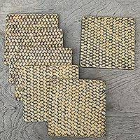 Wood coasters, 'Bamboo Weave in Brown' (set of 6) - Handmade Bamboo Fiber and Wood Coasters (Set of 6)