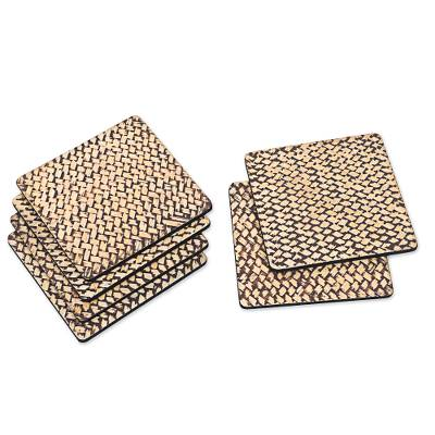 Handmade Bamboo Fiber and Wood Coasters (Set of 6)