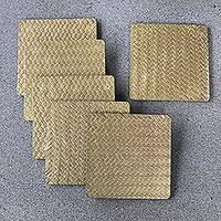 Wood and bamboo coasters, 'Bamboo Weave in Gold' (set of 6) - Artisan Crafted Plywood and Bamboo Fiber Coasters (Set of 6)