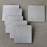 Wood and bamboo coasters, 'Bamboo Weave in Silver' (set of 6) - Artisan Crafted Plywood and Bamboo Fiber Coasters (Set of 6)