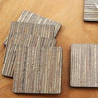 Natural fiber coasters, 'Dark Grey Jimbaran Sands' (set of 6) - 6 Artisan Crafted Coasters Natural Fiber Dark Grey Squares