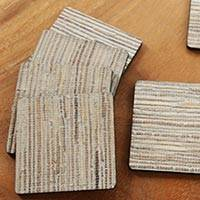 Natural fiber coasters, 'Light Grey Jimbaran Sands' (set of 6) - 6 Hand Crafted Coasters Natural Fiber Squares from Bali