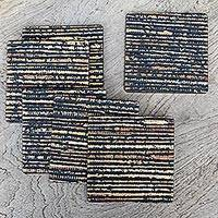 Wood coasters, 'Beach Sand in Black' (set of 6) - Black Natural Fiber and Wood Coasters (Set of 6)