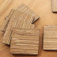 Natural fiber coasters, 'Light Brown Jimbaran Sands' (set of 6) - 6 Artisan Crafted Coasters Natural Fiber Squares from Bali