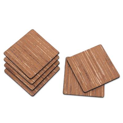 6 Artisan Crafted Coasters Natural Fiber Squares from Bali