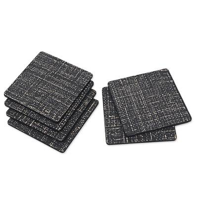 Artisan Crafted Rustic Black Wood Coasters (Set of 6)