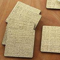 Natural fiber coasters, 'Golden Trails' (set of 6) - 6 Artisan Crafted Coasters Golden Color Squares from Bali