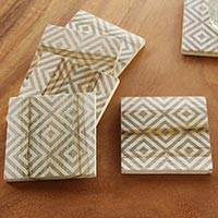 Wood coasters, 'Diamond' (set of 6) - Artisan Crafted Sono Wood Geometric Coasters (Set of 6)