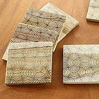 Wood coasters, 'Windmill Medley' (set of 6) - Set of 6 Engraved Wood Geometric Motif Coasters from Bali