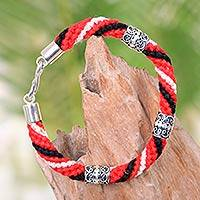 Silver accent cotton braided bracelet, 'Red Tridatu' - Bali Handcrafted Silver Accent Braided Cotton Bracelet