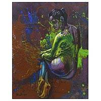 'Waiting is Not the End' - Contemporary Painting of Woman in the Nude from Bali