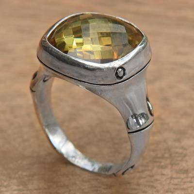 Citrine dome ring, 'Mindful Clarity' - Citrine Dome on 925 Sterling Silver Ring Artisan Jewelry