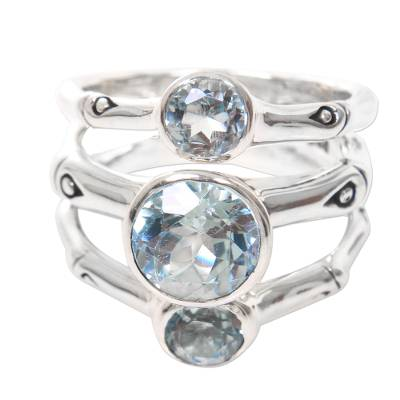 Sterling Silver and Blue Topaz Handcrafted Ring from Bali