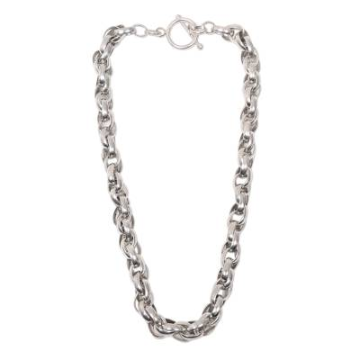 Substantial Hand Crafted Sterling Silver Chain Necklace