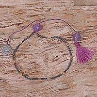 Amethyst beaded bracelet, 'Heart Tree' - Hand Made Amethyst Beaded Bracelet Tree from Indonesia