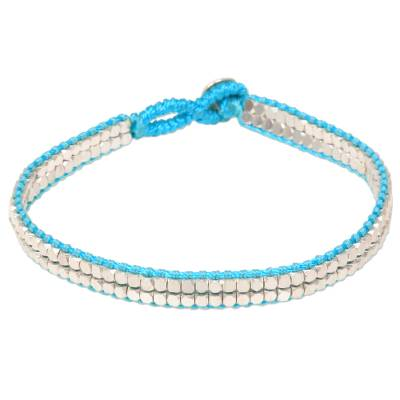 Artisan Crafted Turquoise Beaded Sterling Silver Bracelet