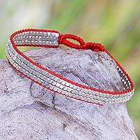Sterling silver beaded bracelet, 'Shimmering Road in Red' - Fair Trade Sterling Silver and Red Nylon Beaded Bracelet