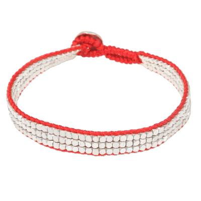 Fair Trade Sterling Silver and Red Nylon Beaded Bracelet