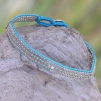 Sterling silver beaded bracelet, 'Shimmering Road in Turquoise' - Artisan Crafted Sterling Silver Beaded Bracelet from Bali